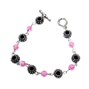 Very Nice Pink & Black Beaded Bracelet